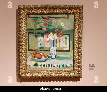 Prague, Czech Republic. 28th June, 2019. The National Gallery Prague (NGP) will open a large exhibition French Impressionism: Masterpieces from the Ordrupgaard Collection with 60 works on June 29, 2019 in the Kinsky Palace, in Prague, Czech Republic. On the photo is seen painting Flowers and Fruits by Henri Matisse at the exhibition, on June 28. Credit: Michal Krumphanzl/CTK Photo/Alamy Live News - Stock Image