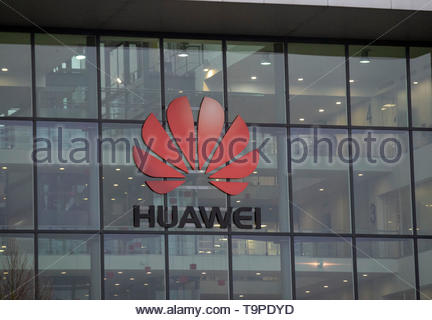 File photo dated 06/12/18 of the UK Headquarters of Huawei in Reading. Google has blocked Chinese communications company Huawei from using apps on its phones, it is reported. - Stock Image