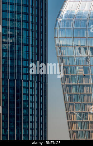South Bank Tower and One Blackfriars on London's South Bank. - Stock Image