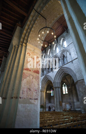 St Albans Cathedral UK, view of a medieval wall painting depicting the Crucifixion of Christ inside St Albans Cathedral, Hertfordshire, England, UK. - Stock Image