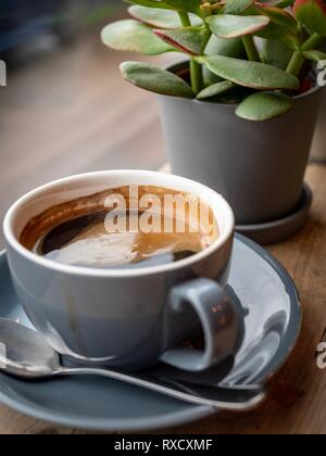 A large cup of fresh black coffee on a wooden bar in a coffee shop - Stock Image