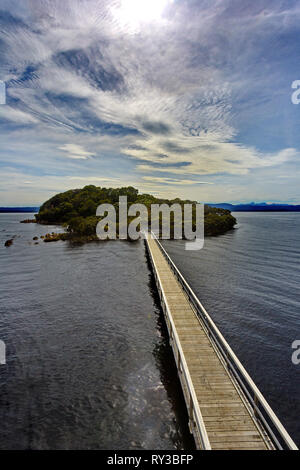 Scenic view of Sarah Island, a former penal settlement in Macquarie Harbour near Strahan, Tasmania, in Australia - Stock Image