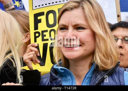 London, UK. 23rd March, 2019. Justine Greening, Conservative MP for Putney, People's Vote March, Whitehall, London.UK Credit: michael melia/Alamy Live News - Stock Image