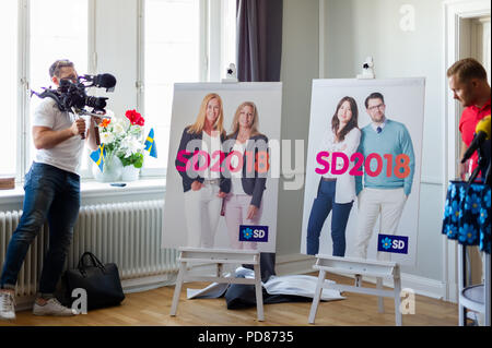 Stockholm, Sweden, August 7, 2018. Sweden Democrats unveil election posters. Credit: Barbro Bergfeldt/Alamy Live News - Stock Image