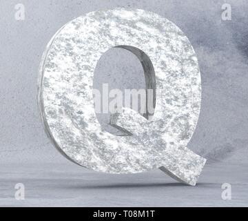 Concrete Capital Letter - Q isolated on white background. 3D render Illustration - Stock Image