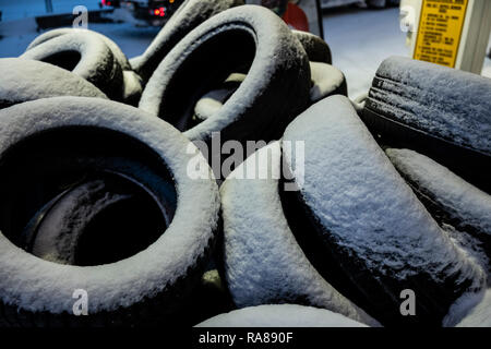 Winter tyres at a garage in Kirkenes, Norway. - Stock Image