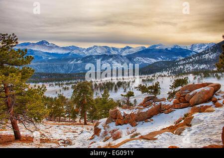 Rocky Mountain National Park, sunset, winter, Landscape - Stock Image