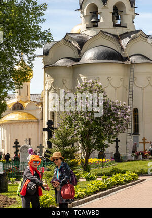 Chinese Tourists taking selfie in front of Church of the Holy Spirit, Sergiyev Posad, Russia - Stock Image