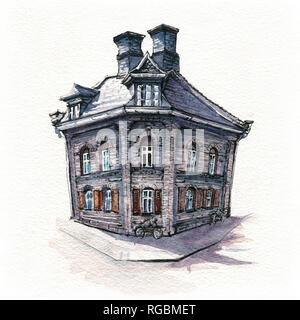 Typical Danich house, Copenhagen - Stock Image