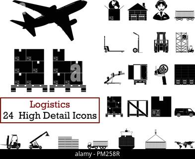 Set of 24  Logistics Icons. Monochrome color design. Vector illustration. - Stock Image