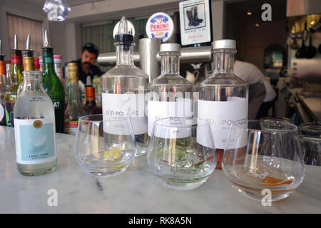 Range of Tasmanian-distilled gins available at Sud Polaire Antarctic Gin Distillery, Hobart, Tasmania, Australia. No PR or MR - Stock Image