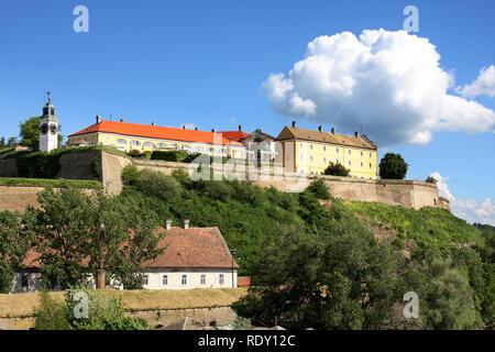 Petrovaradin Fortress and Danube river in Novi Sad, Serbia - Stock Image
