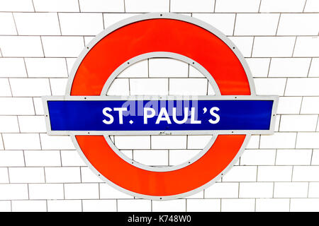 London Underground sign, London Underground St Paul's sign, St Paul's underground station sign, St Paul's underground station, St Paul's London UK - Stock Image