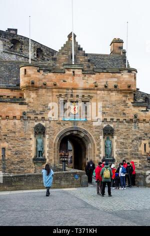 EDINBURGH, SCOTLAND - FEBRUARY 9, 2019 - Edinburgh Castle is a world famous icon of Scotland and part of the Old Town Edinburgh's World Heritage Site - Stock Image