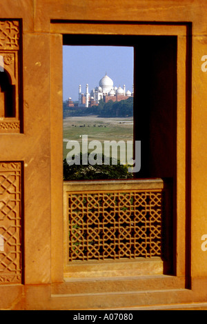 Taj Mahal from the Agra Fort, Rajasthan, India - Stock Image