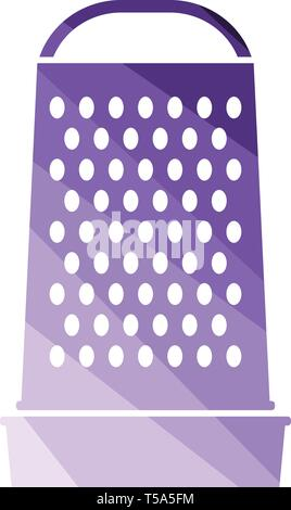 Kitchen grater icon. Flat color design. Vector illustration. - Stock Image