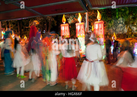 Medellin, Colombia - December 14, 2016: Children dancing with colorful costume in North Park (Parque Norte) Medellin, - Stock Image
