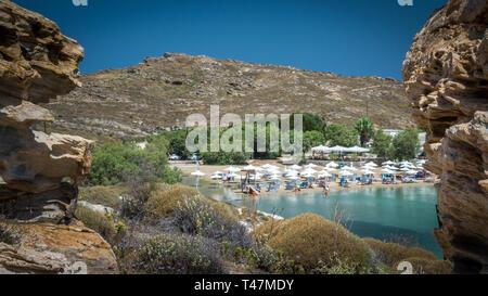Monastiri beach in Paros island, Greece. Beautiful and famous beach of Monastery Agios Ioannis, Cyclades - Stock Image