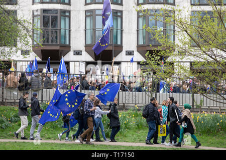 Marchers in Green Park, People's Vote March, London, England - Stock Image