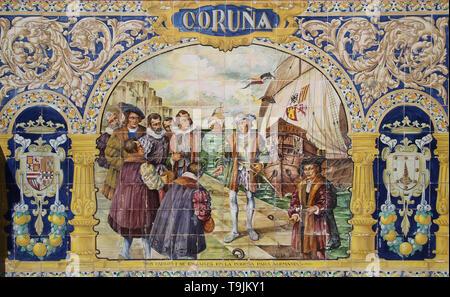 La Coru–a. Emperor Charles V ( 1500-1558 ) embarking in 1520 destination Germany. Tiles. Spain Square. Seville. Spain. Detail. - Stock Image