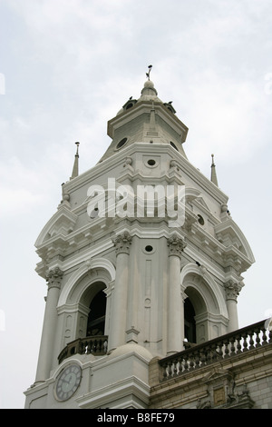 Detail of Cathedral of Lima, Plaza Mayor or Plaza de Armas, Lima, Peru, South America - Stock Image