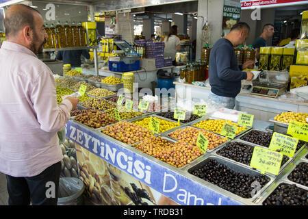 Pickled vegetables and Olives stall at the indoor market, Marmaris, Mugla province, Turkey - Stock Image