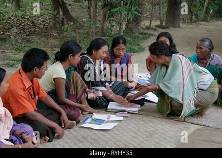 BANGLADESH A savings club meeting of women members of the Garo tribal minority Haluaghat, Mymensingh region photo by Sean Sprague - Stock Image