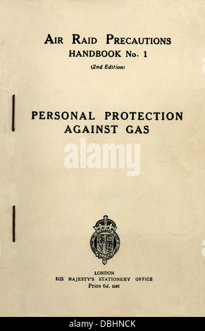 An Air Raid Precautions Handbook 'Personal Protection Against Gas' London H M Stationery Office 1939 - Stock Image