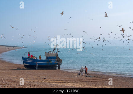 Hastings, East Sussex, UK. Dog walkers watch Hastings fishing boat bringing in the catch in the early morning mist on the Old Town Stade fishermen's beach. Hastings has the largest beach-launched commercial fishing fleet in Britain. - Stock Image