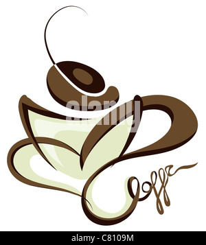 cup of coffee line art illustration isolated on white background - Stock Image