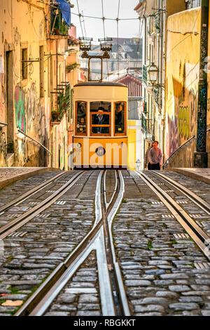 Bica funicular, Lisbon, Portugal - Stock Image
