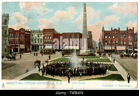 Pack Square with Vance Memorial Obelisk, Asheville, North Carolina, USA.      Date: 1900s - Stock Image