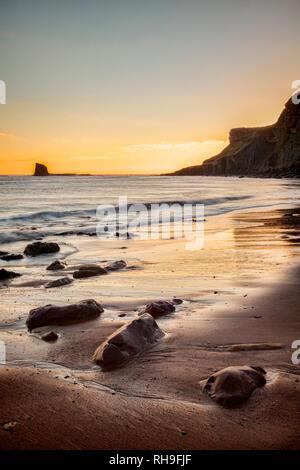 Beach at Saltwick Bay, North Yorkshire - Stock Image