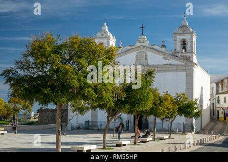 The Church of Santa Maria (Igreja de Santa Maria), In The Main Square Praça Infante Dom Henrique Lagos Algarve Portugal - Stock Image