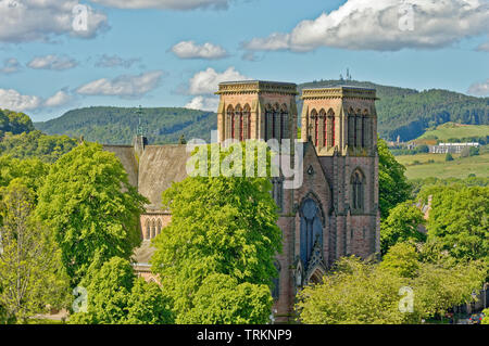 INVERNESS CITY SCOTLAND CENTRAL CITY THE TWIN TOWERS OF ST ANDREWS CATHEDRAL - Stock Image