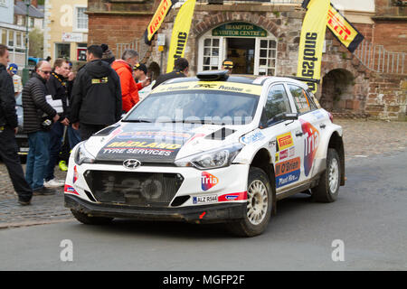 Brampton, Cumbria, UK, 28 April 2018. Ceremonial finish of the the Pirelli International Rally took place in Brampton, Cumbria. Andrew Cheal/Alamy Live News - Stock Image