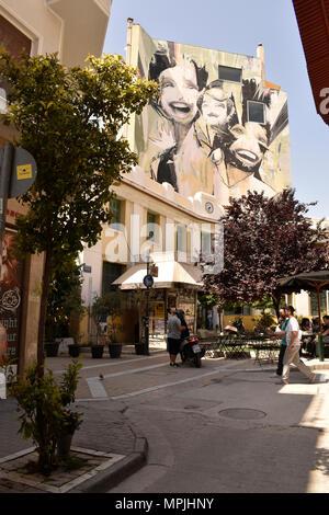 Street Art in Psyri, Athens, Greece - Stock Image