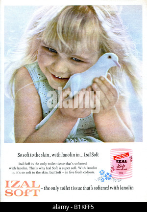 1965 Magazine Advertisement for Izal Soft Toilet Tissue  FOR EDITORIAL USE ONLY - Stock Image