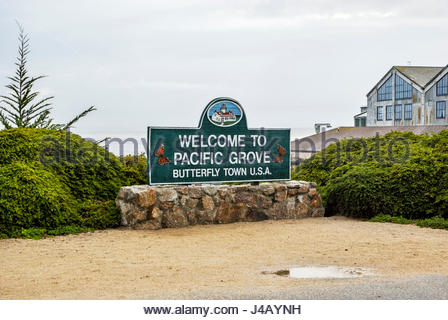Welcome to Pacific Grove, Butterfly Town U.S.A. - Stock Image