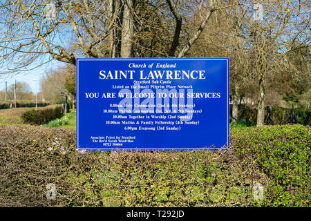 Sign at the entrance to St Lawrence church in Stratford sub Castle near Salisbury UK - Stock Image