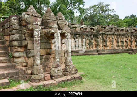 Detail of Terrace of the Elephants ruins in Angkor Wat. The Angkor Wat complex, Built during the Khmer Empire age, located in Siem Reap, Cambodia, is  - Stock Image