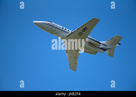 Hawker Beechcraft 125-800XPI departing Inverness Dalcross Airport in the Scottish Highlands. - Stock Image