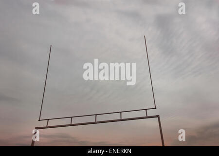 looking up at American football goalpost - Stock Image