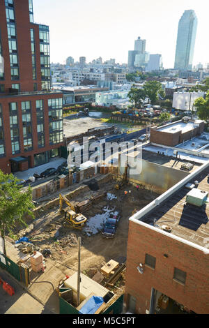 construction site in Long Island city at 47th ave and 5th street - Stock Image