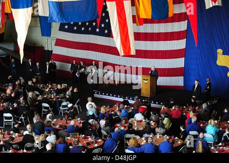 Former President Jimmy Carter speaks aboard USS Carl Vinson. - Stock Image