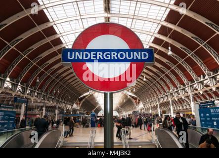 London Underground Sign at Paddington Station, London, United Kingdom - Stock Image