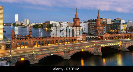 Oberbaum bridge, Oberbaumbreucke,  Berlin, Germany - Stock Image