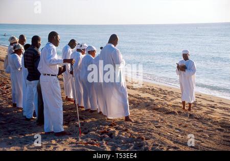 Miami Beach Florida South Beach Atlantic Shore Eglise de Deux Maison de Priere Haitian baptism ceremony - Stock Image