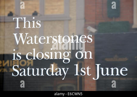 closing notice on window of Waterstones book shop, Market Street, Leicester, England, UK - Stock Image