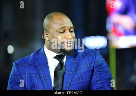 Glendale, AZ, USA. 11th Jan, 2016. Marcus Spears of ESPN SEC Nation during the 2016 College Football Playoff National - Stock Image